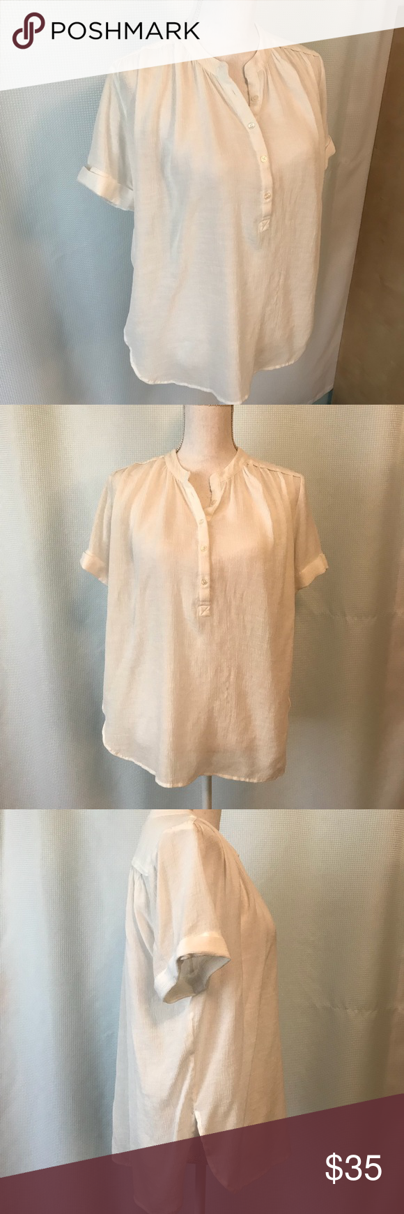 Anthropologie Maeve White Peasant Blouse White peasant