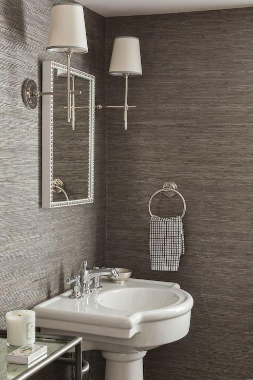 Inspirational Powder Room Designs. Half Bathroom WallpaperGrey ...