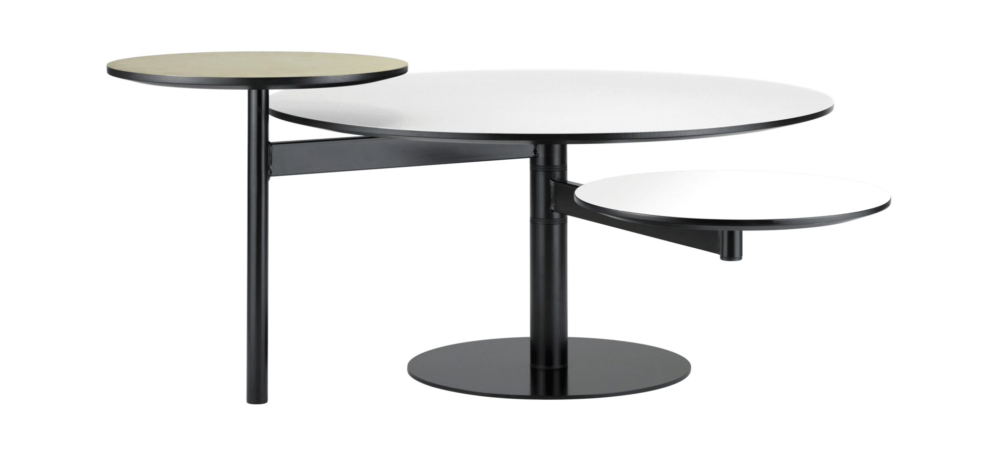 The Eclipse Laminate Coffee Table, White / Brass By Bolia Boasts A Top  Finish In White/brass, With A Frame Finish In Black   Powder Coated Steel.