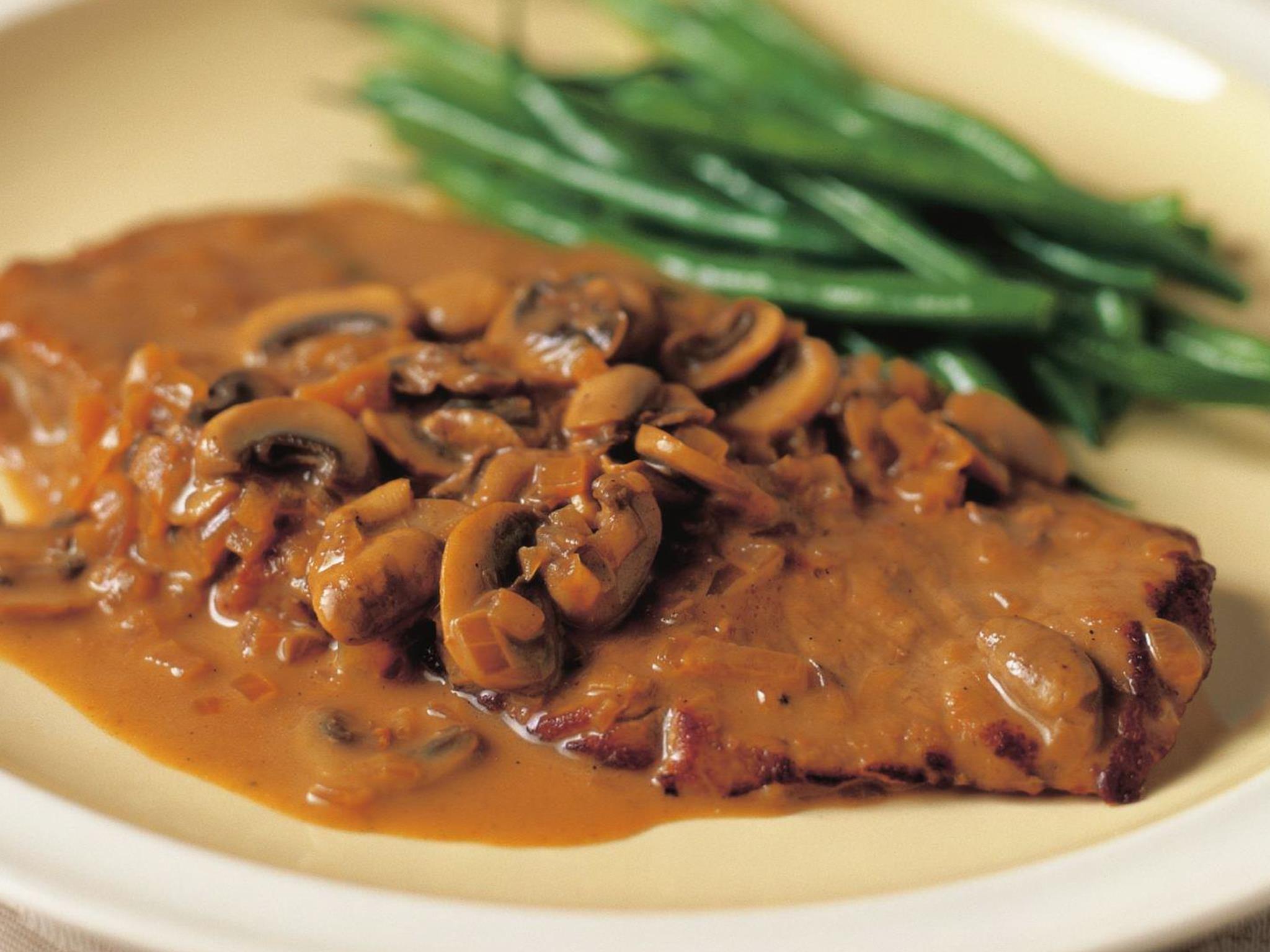 Veal scallopini with mushroom sauce | Recipe | Creamy ...