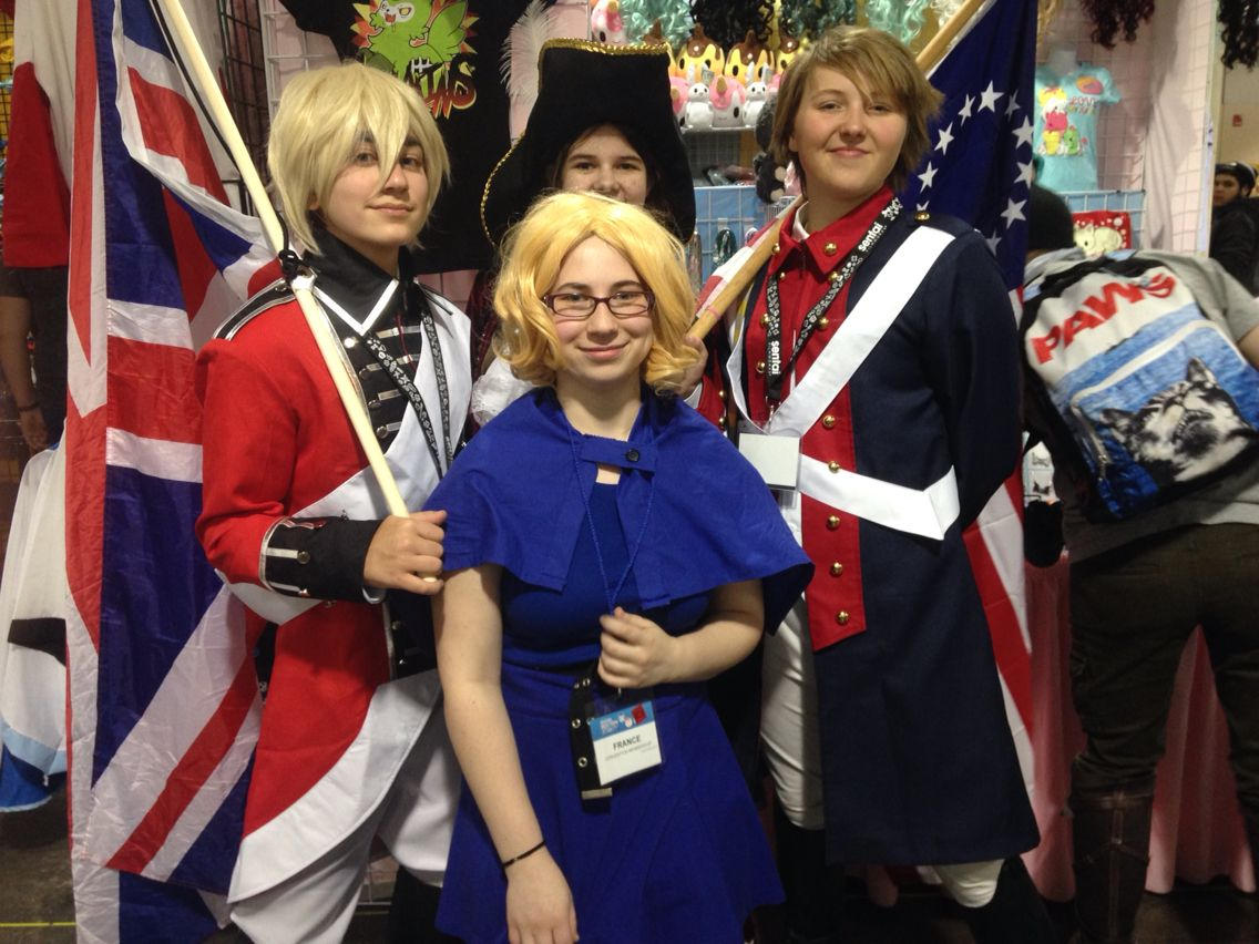 Me as France with and Revolutionary War America and England and a Pirate Spain at Anime Boston 2016! Also, I had a sass off with the England. It was great!