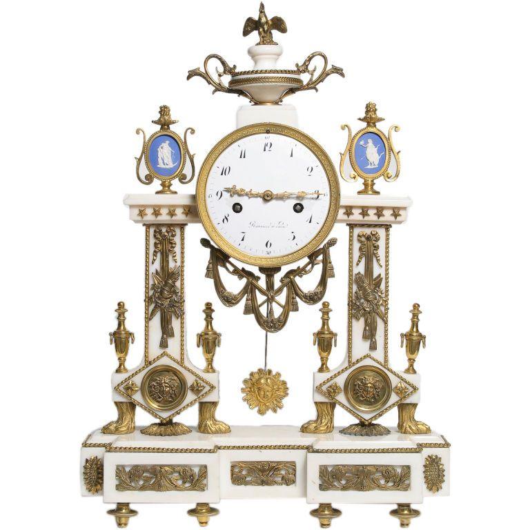 Rare Louis Xvi Period White Marble Mantle Clock Mantle Clock Clock Antique Wall Clocks