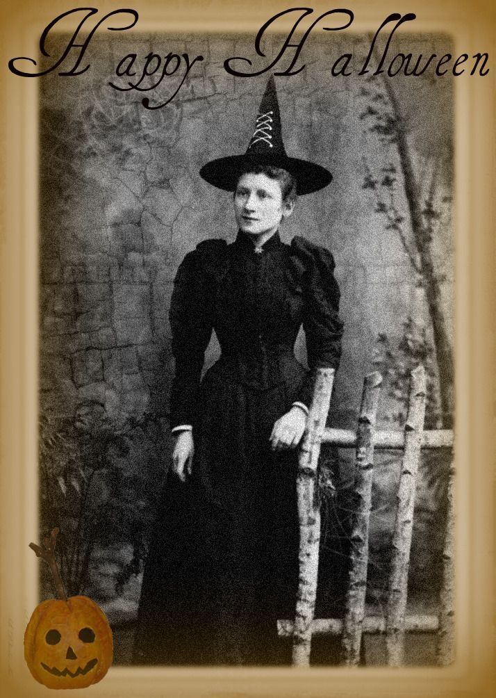 Happy Halloween Vintage Witch Vintage Witch Halloween Old Photo