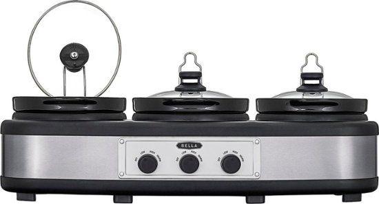 bella 3 x 2 5 quart triple slow cooker stainless steel black rh pinterest ca