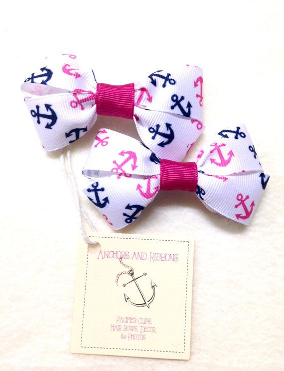 Pink & Navy Anchors Set of TWO Hair Bows / by AnchorsAndRibbons
