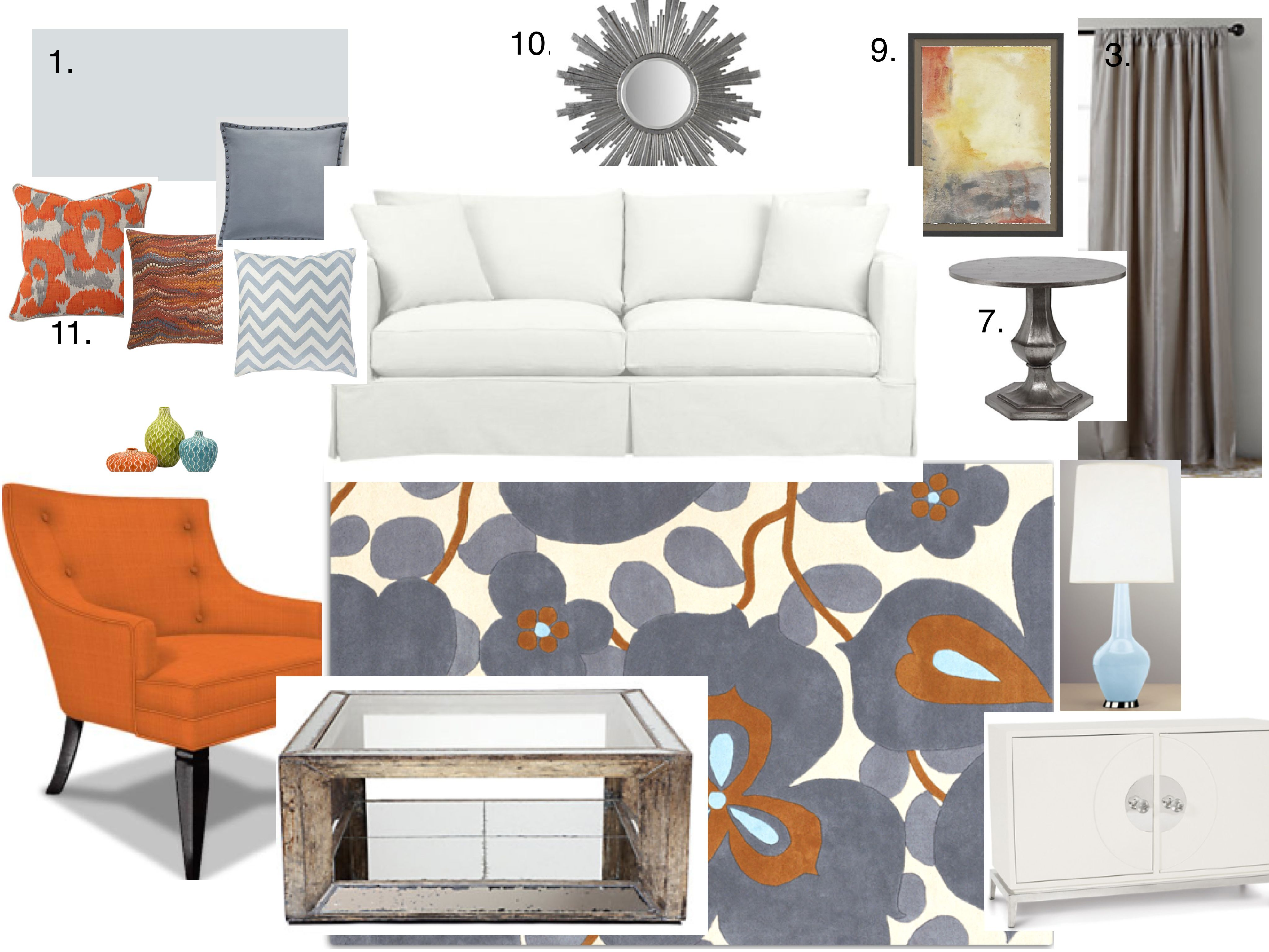 Living Room Mood Board Centered Around This Beautiful Amy Butler Wool Rug I Love The Orange And Blue C Blue Living Room Living Room Orange Girl Bedroom Walls