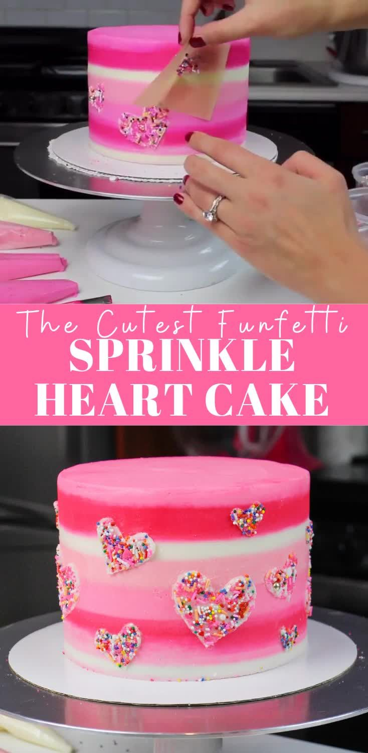 Funfetti Cake Decorated with Sprinkle Hearts: Recipe & Tutorial