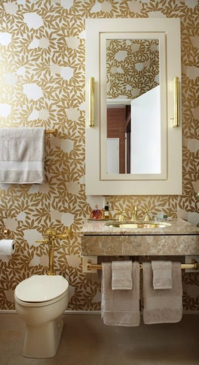 Jessica Lagrange Interiors Bathrooms Osborne Little A Wallpaper Gold Metallic Fl Bathroom Wal