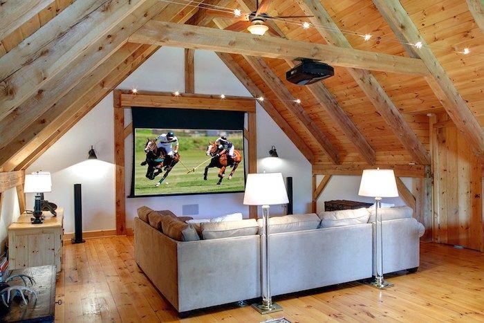 Wohnung Einrichten Ideen Erholungsbereich Im Dachgeschoss Sofa Graue Möbel  Lampen Stehlampen Pferderennen Sport Zuschauen