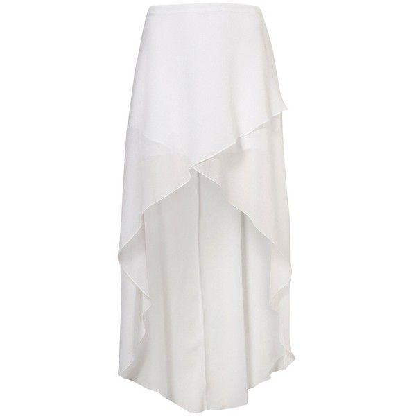 White Wrap Front Maxi Skirt - Skirts - Clothing - Topshop ❤ liked on Polyvore featuring skirts, bottoms, saias, faldas, long white denim skirt, pencil skirts, long pencil skirt, white pencil skirts and denim skirt