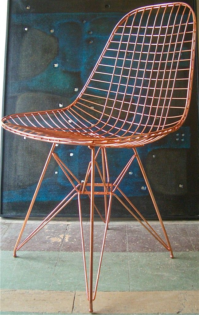 Eames Wire Chair, Herman Miller, Copper Plated Eames Wire Chair, Mid  Century Modern