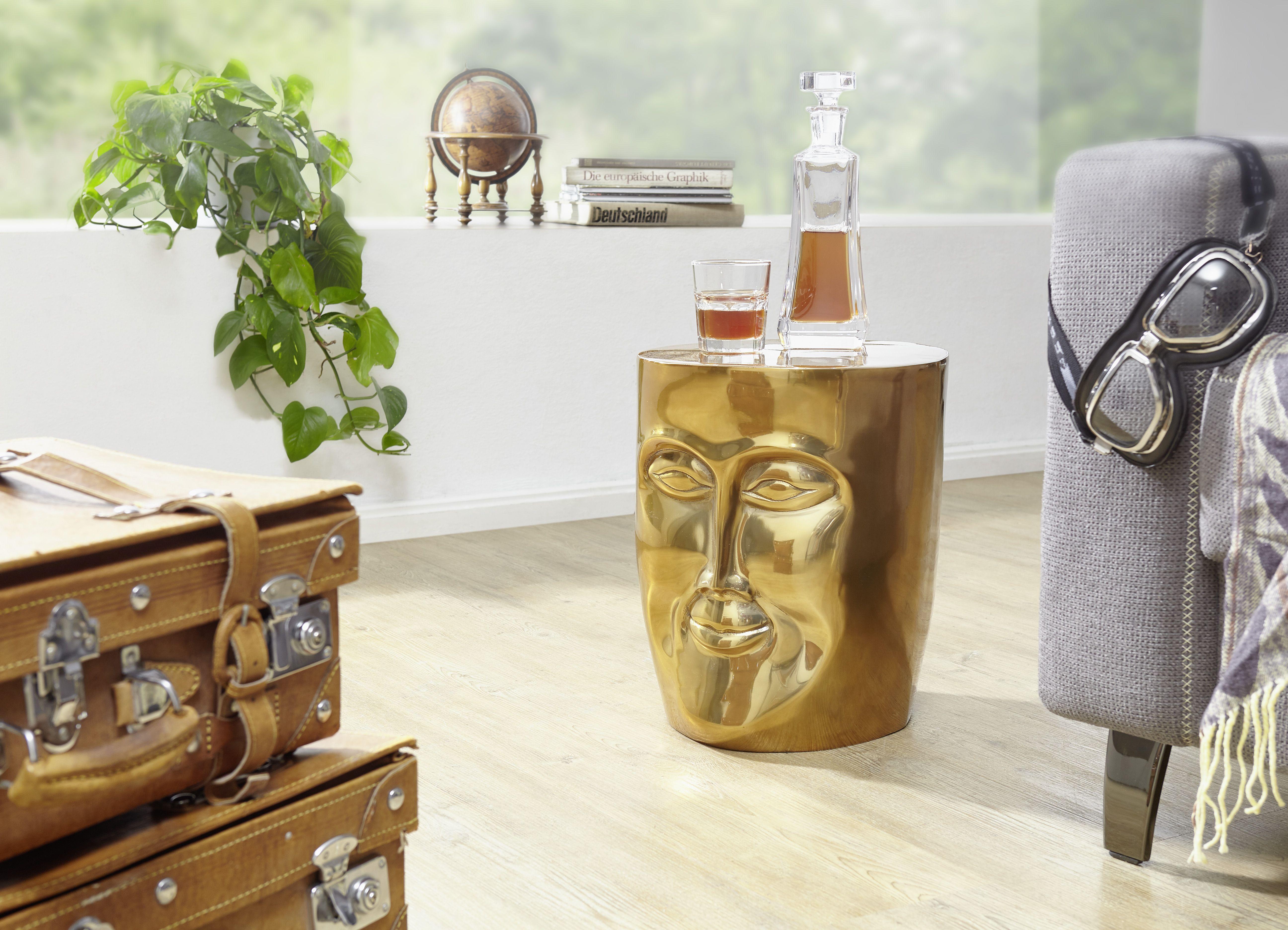 Wohnling Beistelltisch Face Gold Wl5 507 Aus Aluminium Gold Metall Wohnidee Dekoration Ablage Wohnen Beistelltisch Tisch Beistelltische