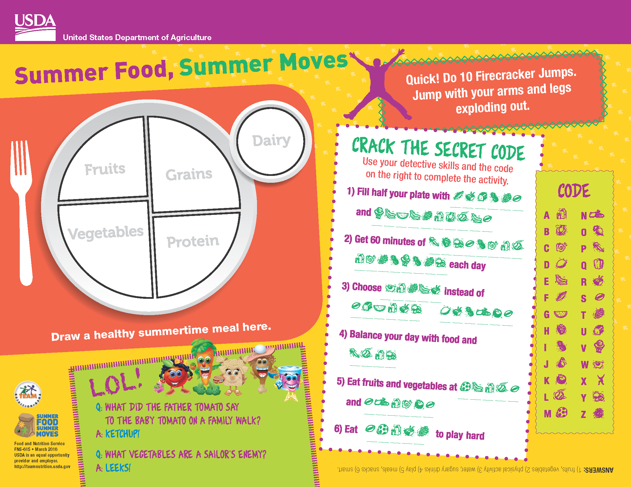 This Fun Placemat From Usda S Team Nutrition Is One Of