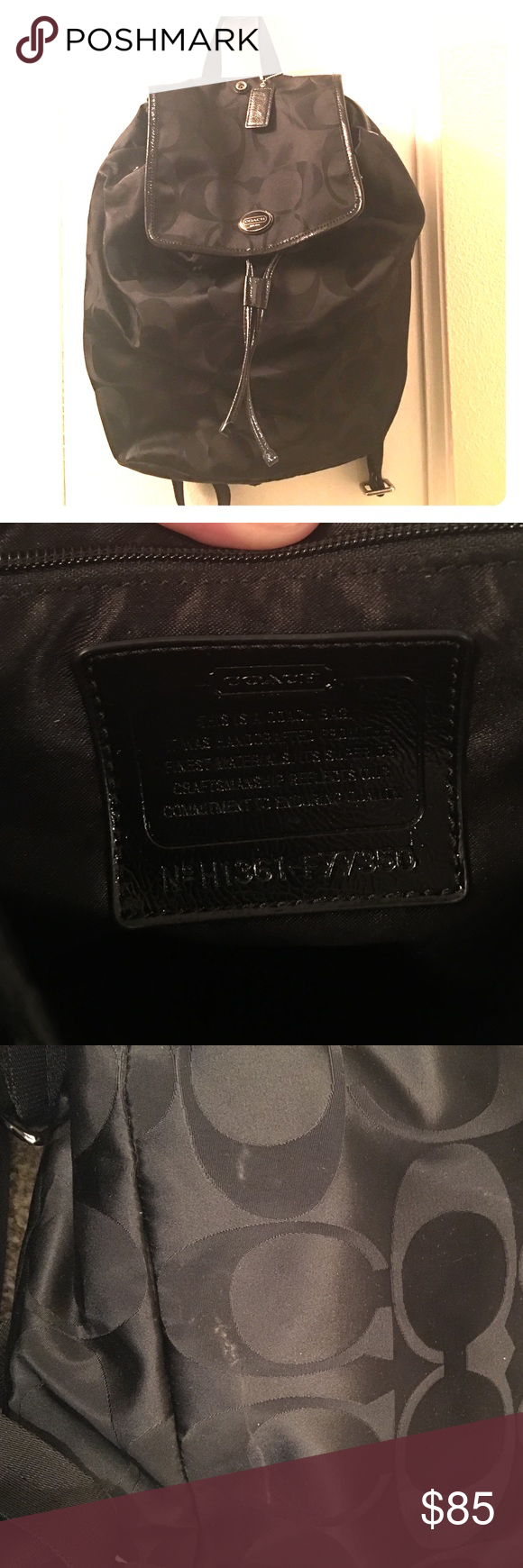 Coach backpack Coach backpack used a few times with a small blemish on the back. Great quality, super cute, black on black. Coach Bags Backpacks