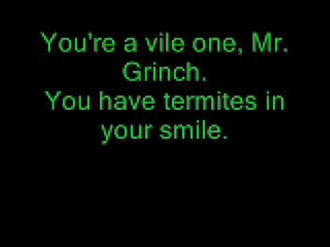 Mr. Grinch Lyrics by Thurl Ravenscroft chock full of similes and ...