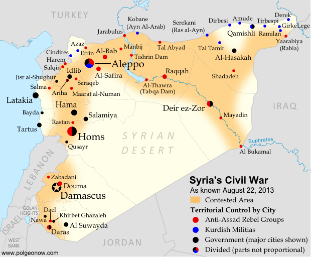 map of fighting and territorial control in syrias civil war free syrian army rebels