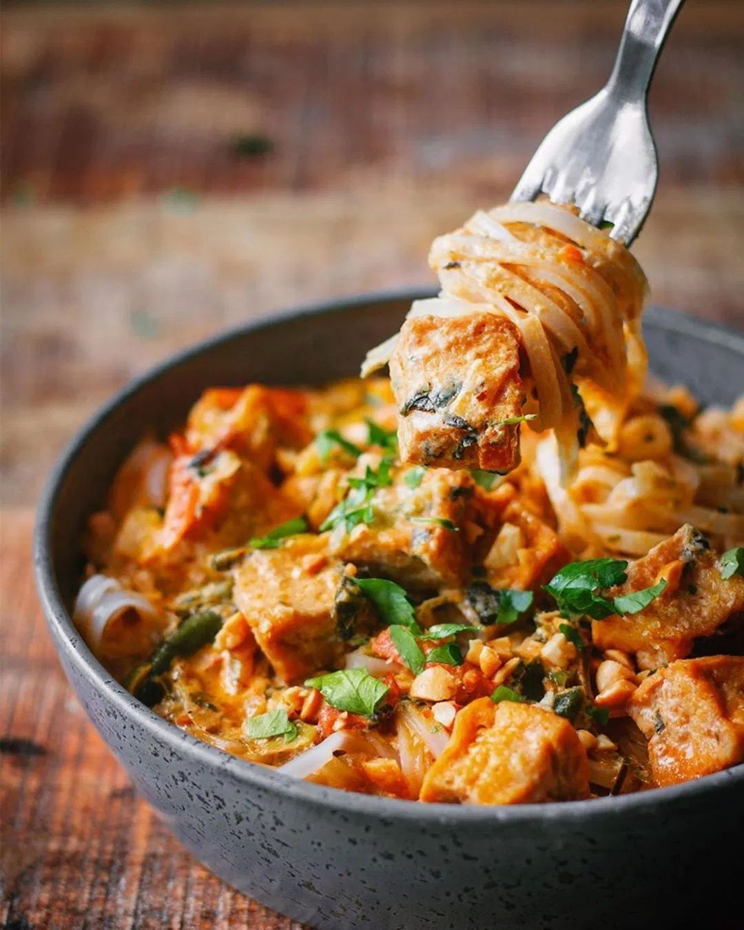 Crispy Tofu Panang Red Curry with Rice Noodles