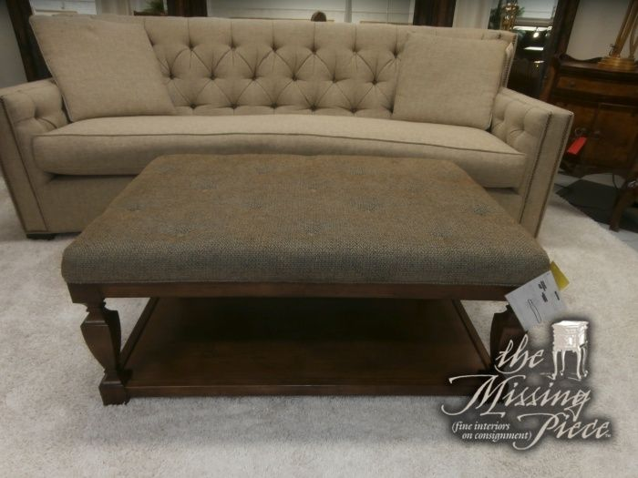 Tufted upholstered ottoman with wood base Measures 423118 And
