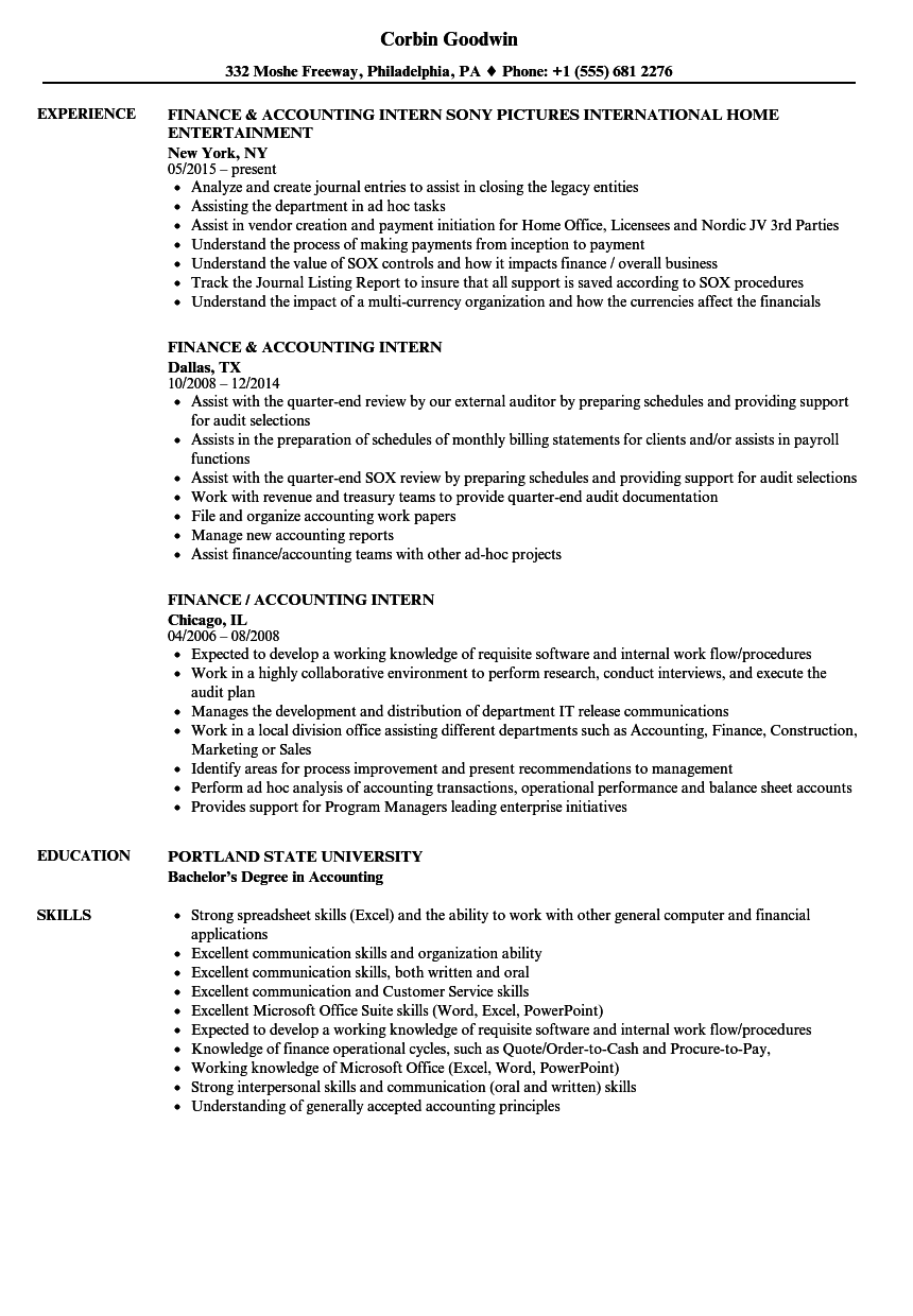 Accounting Internship Resume Objective Fresh Resume