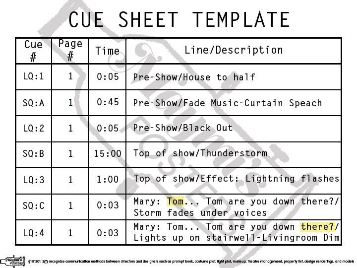 Cue Sheet Template Poster | Tech Theatre Posters | Pinterest ...
