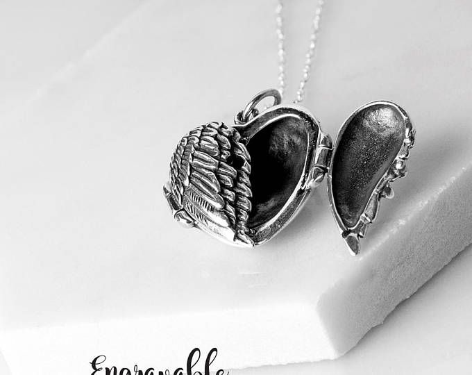 Angel Wing Locket Necklace Sterling Silver Guardian Angel Locket