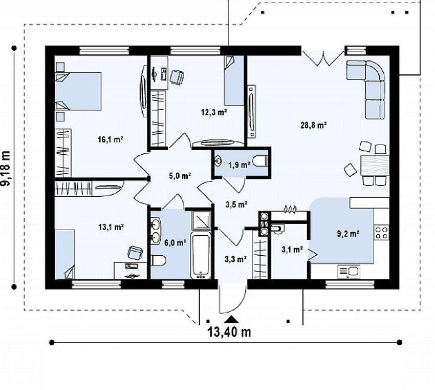 100 Square Meter House Floor Plan