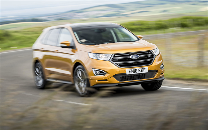Download Wallpapers Ford Edge  K New Yellow Edge Suv American Cars Ford