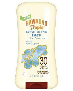 Hawaiian Tropic Sensitive Skin Oil Free Faces Lotion SPF 30 Sunscreen-4 oz