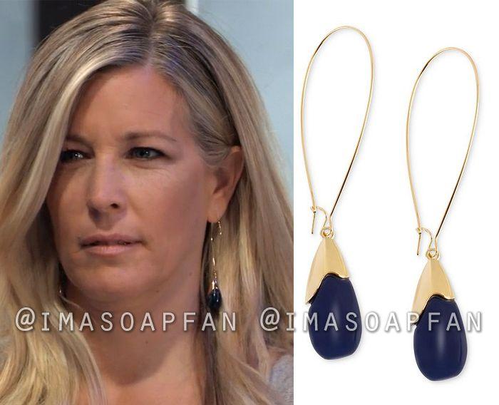 8ee214729 Carly Corinthos's Dark Blue Bead Drop Hoop Earrings - General Hospital,  Season 56, Episode 01/25/19, Laura Wright, #GeneralHospital #Fashion #Style  #outfits ...