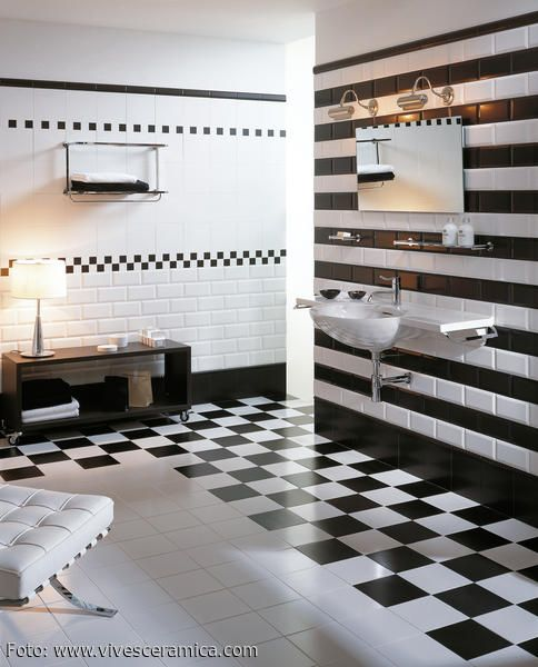 Schwarz-weiß Look im Badezimmer Bathroom designs, Bath and Interiors - badezimmer schwarz weiß