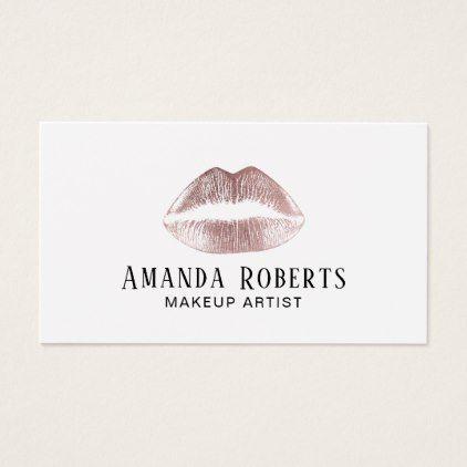 Rose gold lips minimalist makeup artist business card makeup rose gold lips minimalist makeup artist business card minimalist office gifts personalize office cyo custom reheart Choice Image