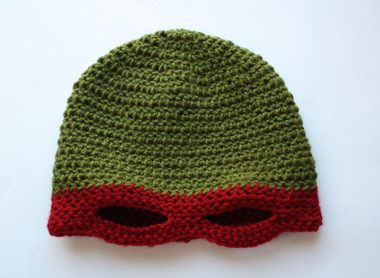 b341e3da3de Crochet Ninja Turtle Inspired Hat - Raphael.