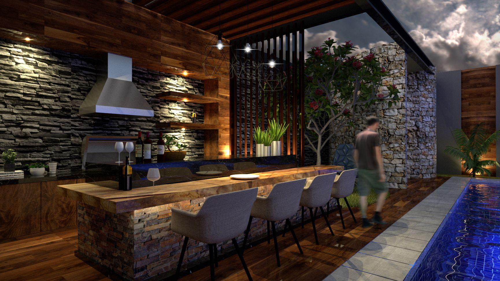 Diseño De Bar Asador Moderno Para Casa Residencial Xalapa