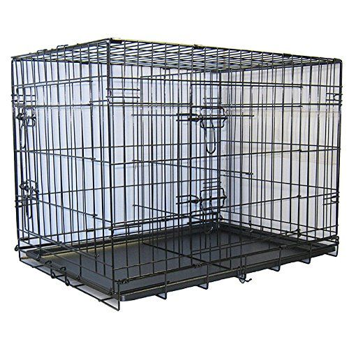 Gopetclub 42 Inch 2 Door Metal Folding Dog Crate W Divider Ideal For Travel Discover This Special Dog Product Click The Image Do Dog Crate Folding Dog Crate Diy Dog Kennel