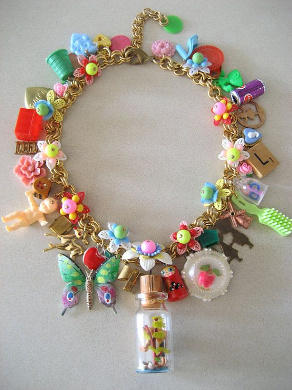 Vintage Toy Necklace Flower Necklace Statement by rebecca3030