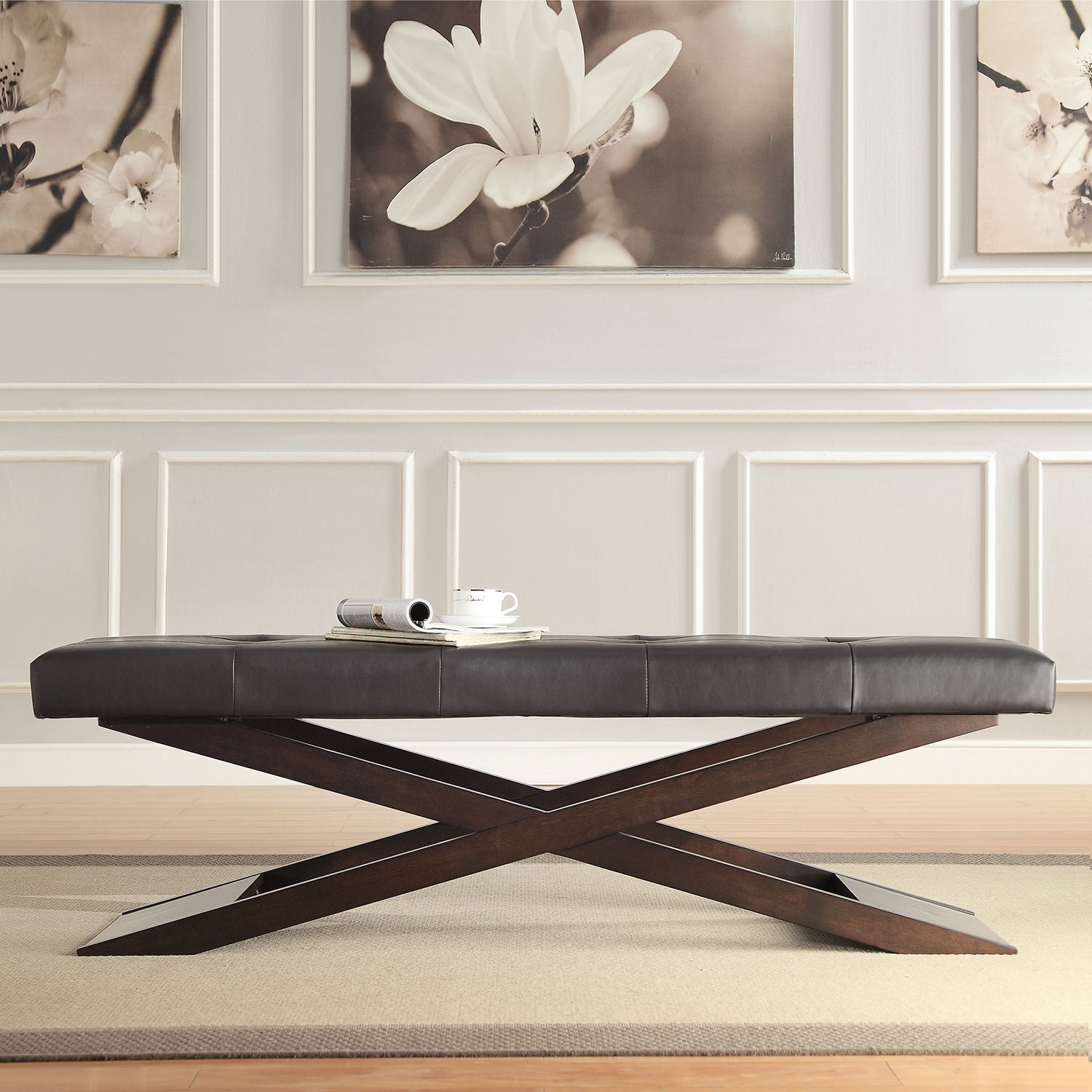 Add unique seating to your home with this contemporary trestle-style bench.  With a