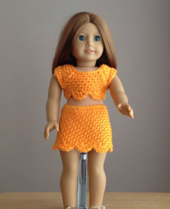 American Girl Doll Clothes 18 inch doll Crocheted Skirt and Top ...