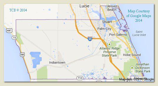 Hobe Sound Florida Map.Martin County Florida Map Courtesy Google 2014 Tcb Treasure