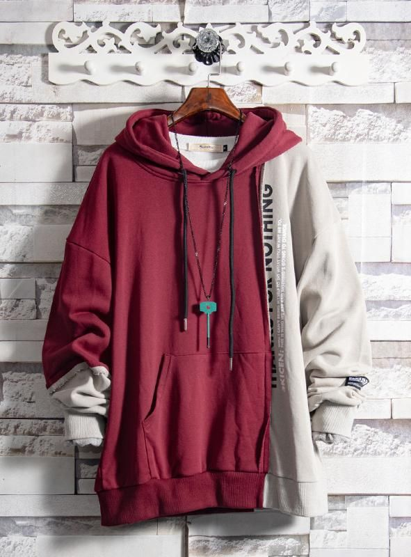 Retro stitching contrast color sweater new men's European and American sports jacket hooded hooded shirt autumn – fashiooon…and more…