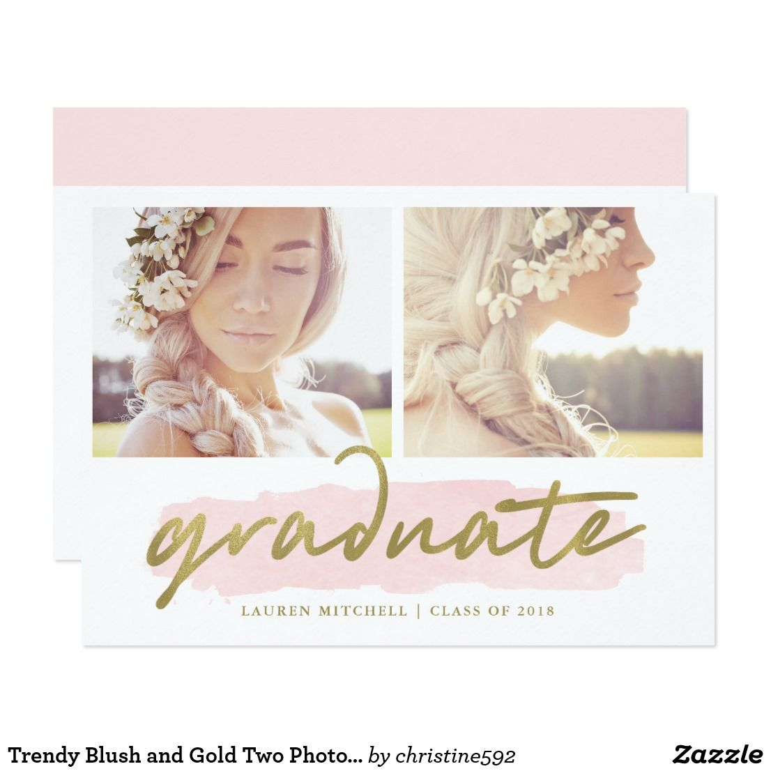 Trendy Blush and Gold Two Photo Graduation Party Card | Grad invites ...