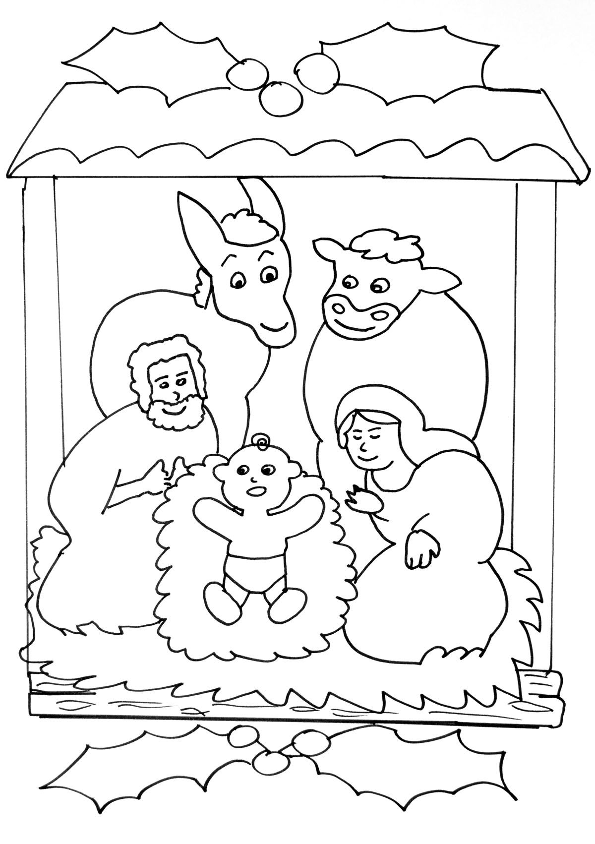 Children's coloring pages of nativity - Nativity Scene Simple Coloring Page For Young Children