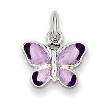 Rhodium Enameled Purple Butterfly Charm in Sterling Silver