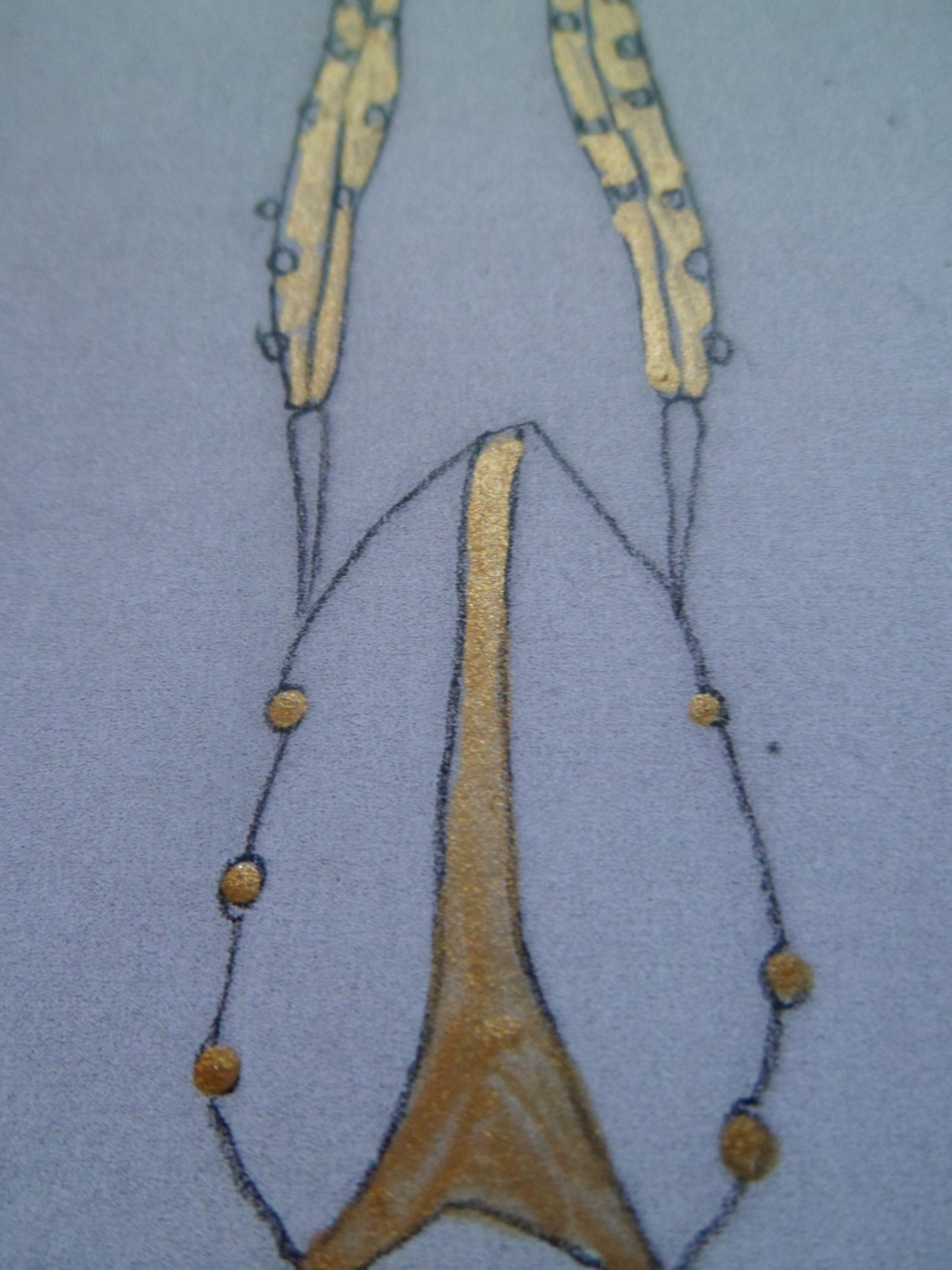 Pencil sketch with gold jewellery ideas