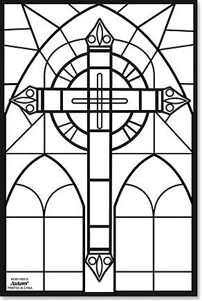 Renaissance Stained Glass Coloring Sheets Google Search Stain Glass Cross Medieval Stained Glass Cross Coloring Page