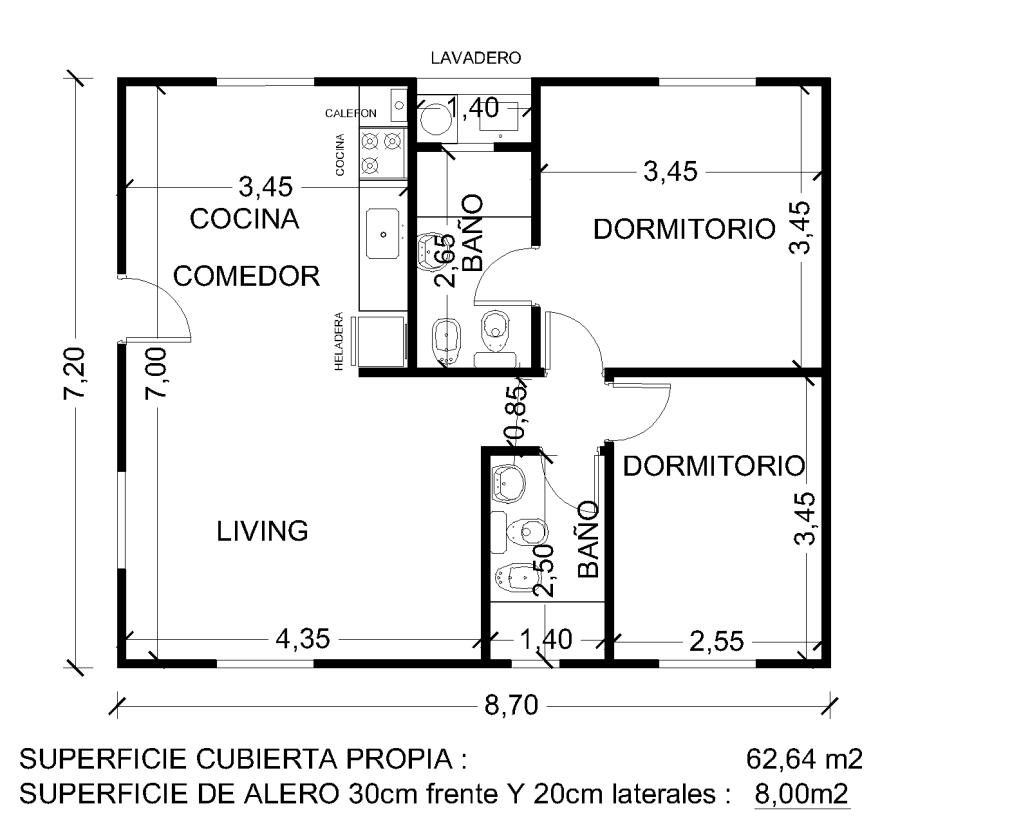Plano vivienda 70m2 planos pinterest for 70m2 house design