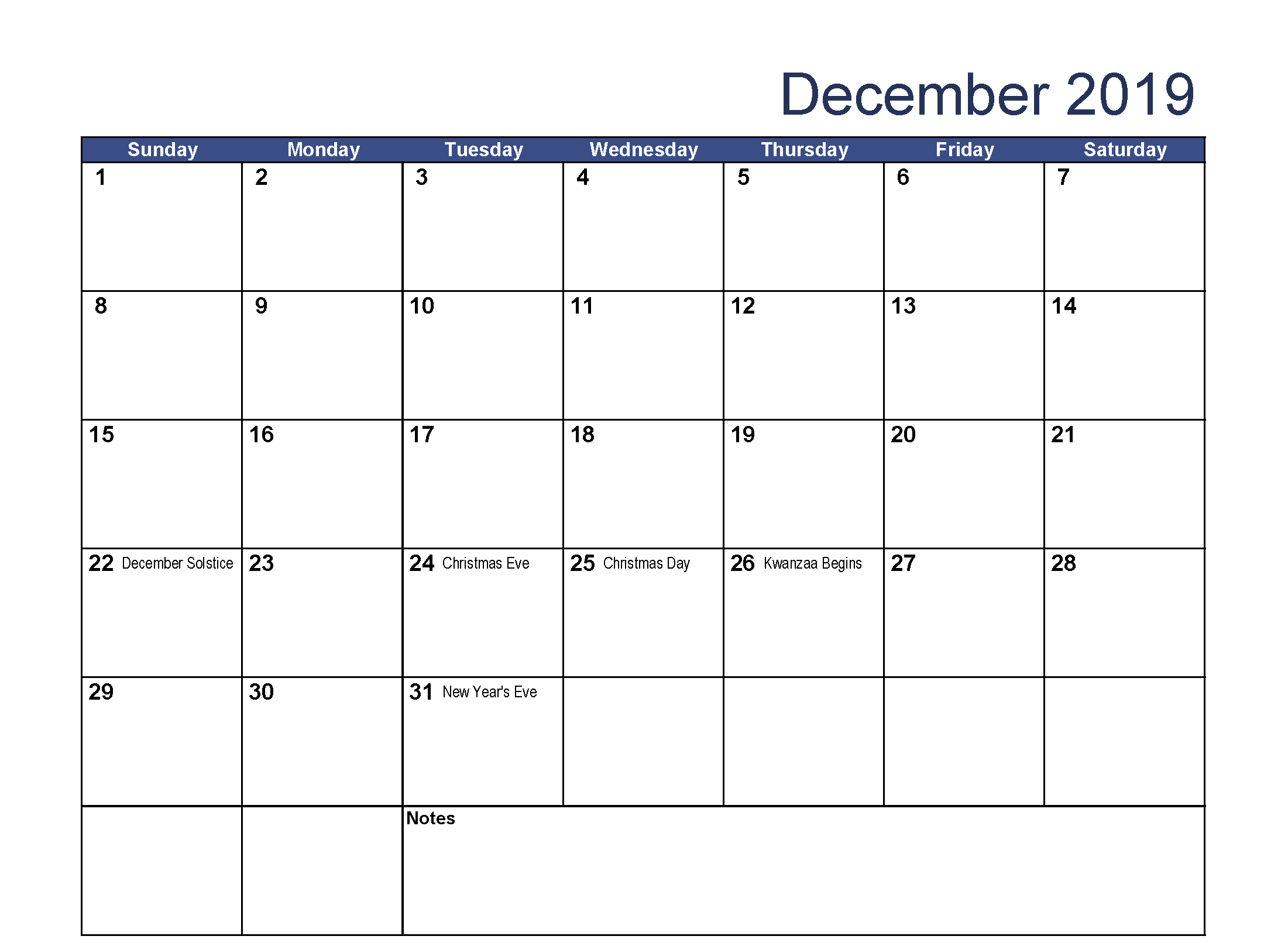 Printable December 2019 Calendar Holidays 2019 Calendar Free Printable Calendar Templates Holiday Calendar Printable