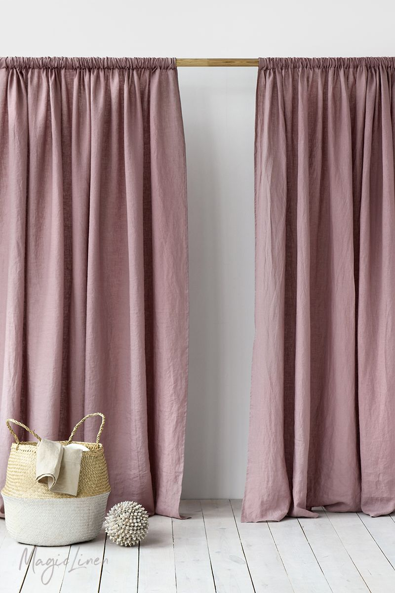 Draping Curtains Rod Pocket Linen Curtain Panel Linen Curtains Linen Curtains