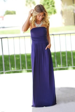 71f5bd94180 Get this beautiful Strapless Navy Blue Maxi Dress with Pockets from Saved  by the Dress Boutique. Beautiful strapless maxi dress in navy color for any  ...