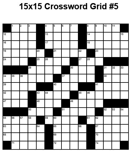 15x15 Medium Crossword Puzzle Grid 5 Puzzle 22 Puzzle
