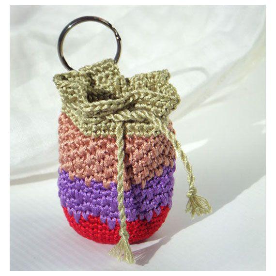 627f522f1 Mini Crocheted Key Chain Pouch - Small Cotton Coin Purse, Bag - Red,  Purple, Striped